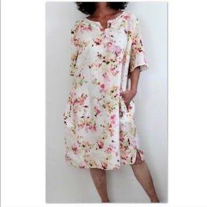 J. Jill 100% linen watercolor floral shift dress